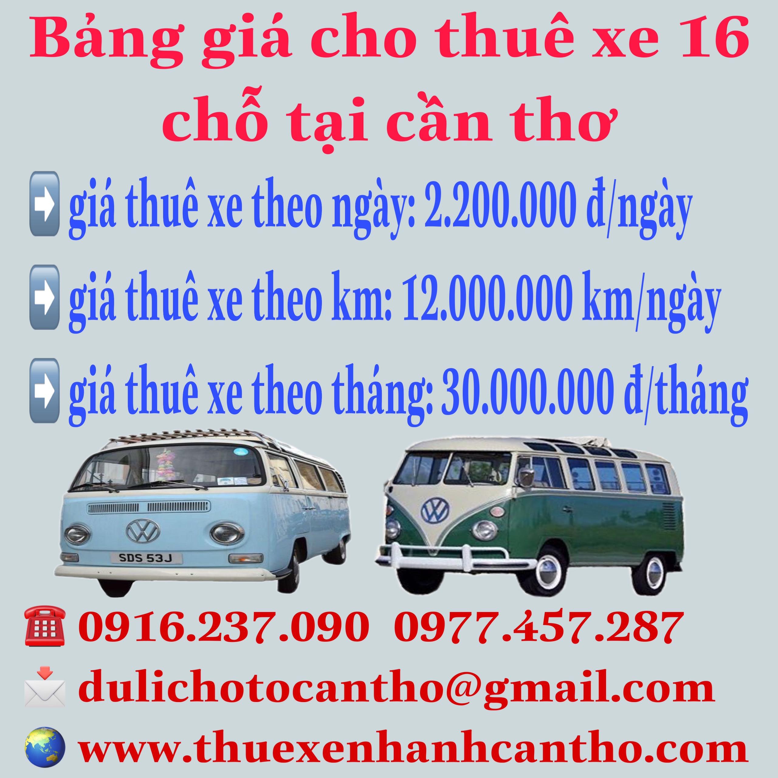 Bảng giá thuê xe 16 chỗ tại Cần Thơ