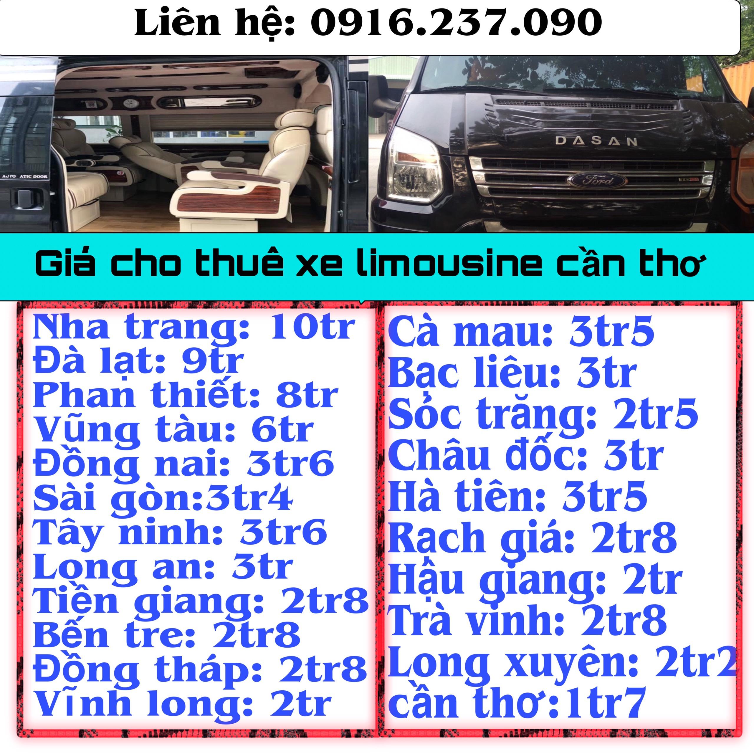 Giá thuê Xe Ô Tô Limousine 9 Chỗ Cần Thơ Có Tài Xế Trọn Gói
