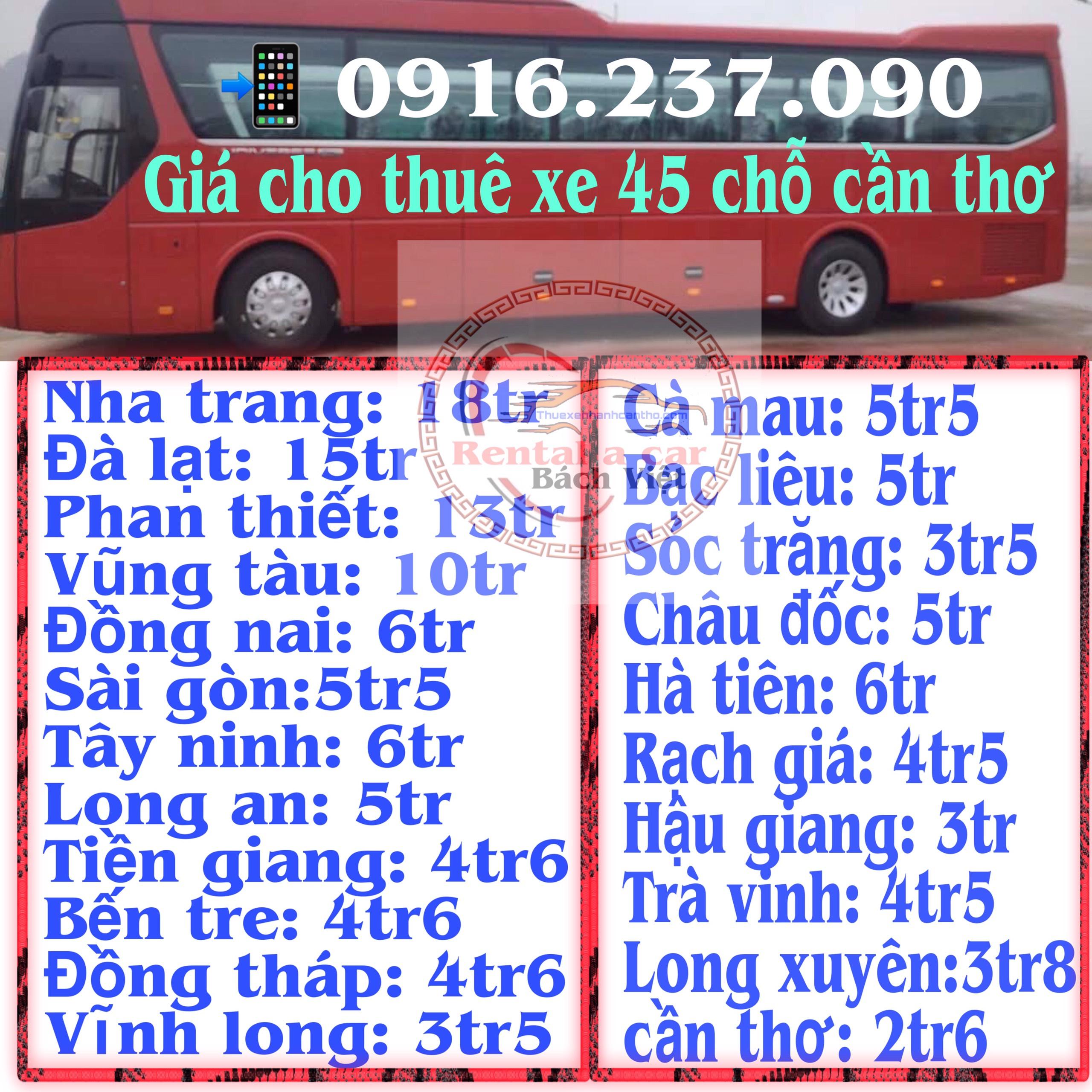 Giá thuê Xe Ô Tô 45 Chỗ Cần Thơ Có Tài Xế Trọn Gói