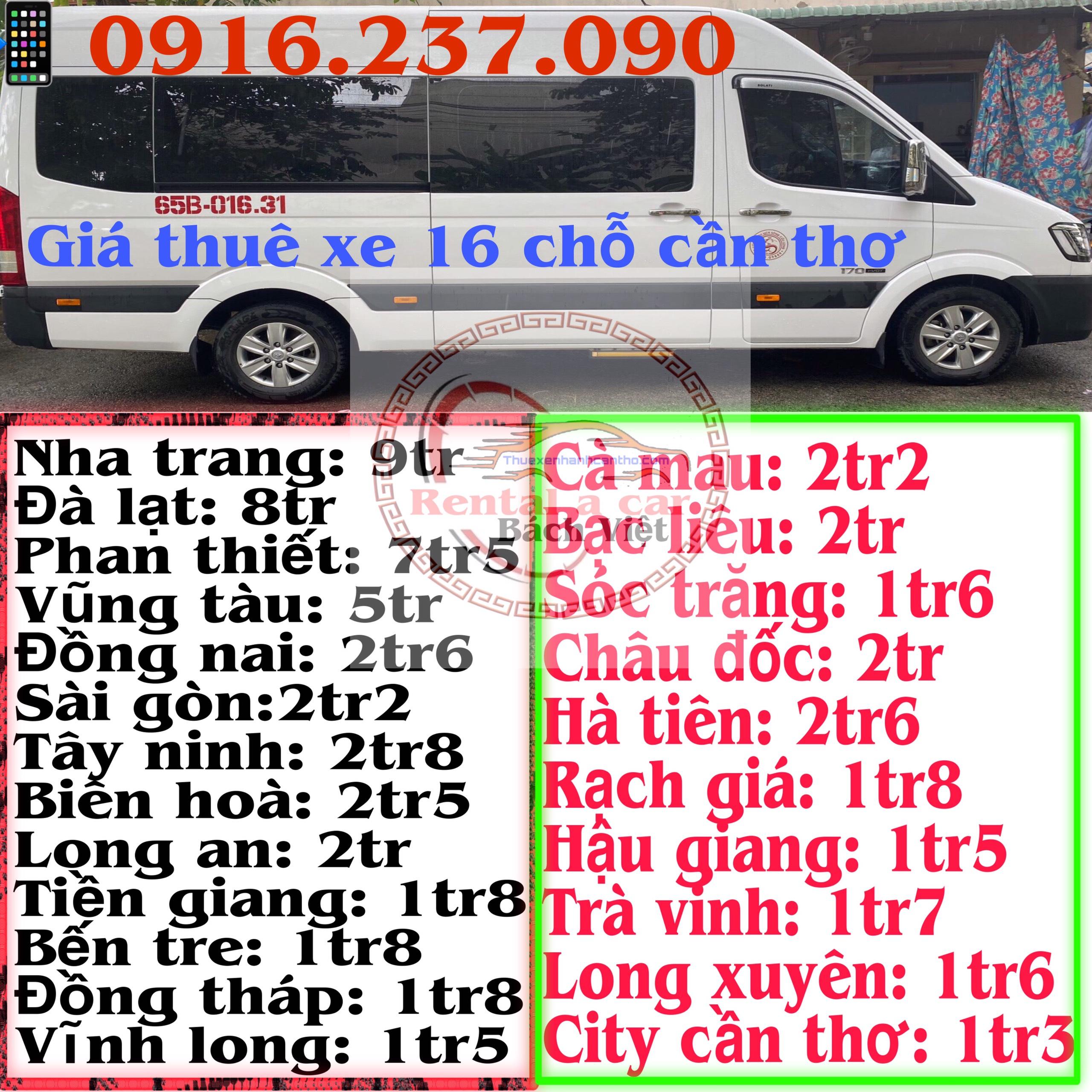 Giá thuê Xe Ô Tô 16 Chỗ Cần Thơ Có Tài Xế Trọn Gói